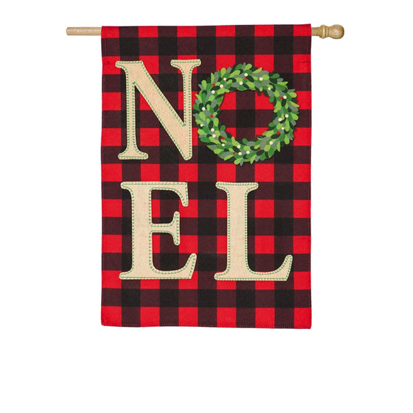 House Flag NOEL Wreath Linen