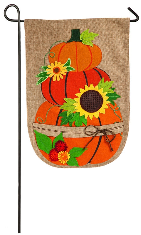Garden Flag Stacked Pumpkins Burlap