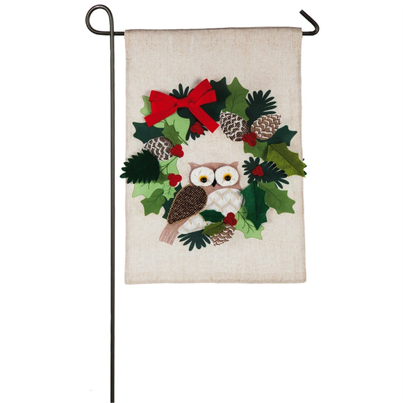 Garden Flag Holiday Owl Burlap
