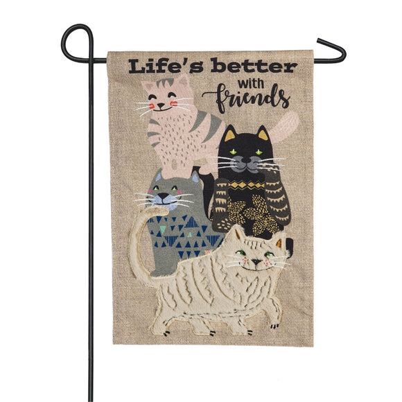 Garden Flag Life's Better with Cat Friends Burlap