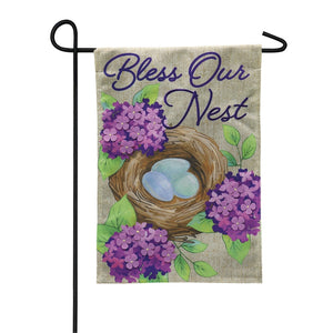 Garden Flag Bless Our Nest Burlap
