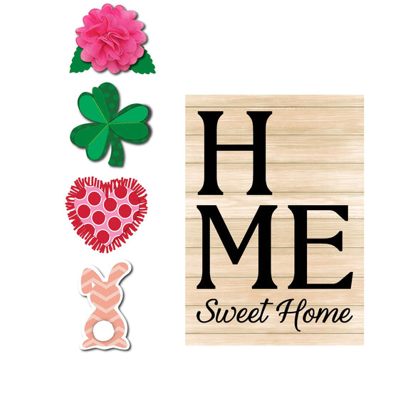 Garden Flag Spring Home Sweet Home Interchangeable Icon Burlap