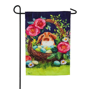Garden Flag Easter Bunny Basket Textured Suede