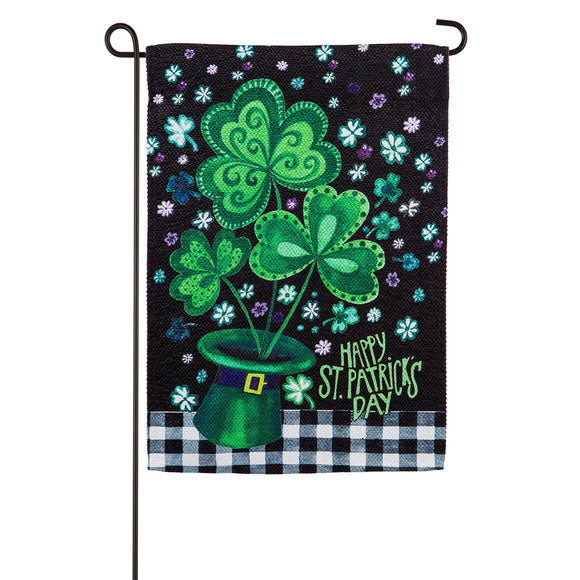 Garden Flag Shamrocks Buffalo Plaid Textured Suede