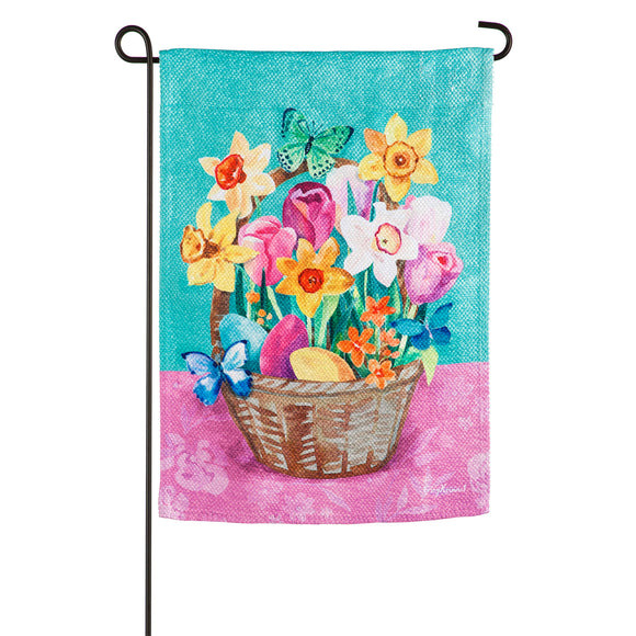 Garden Flag Easter Basket Textured Suede