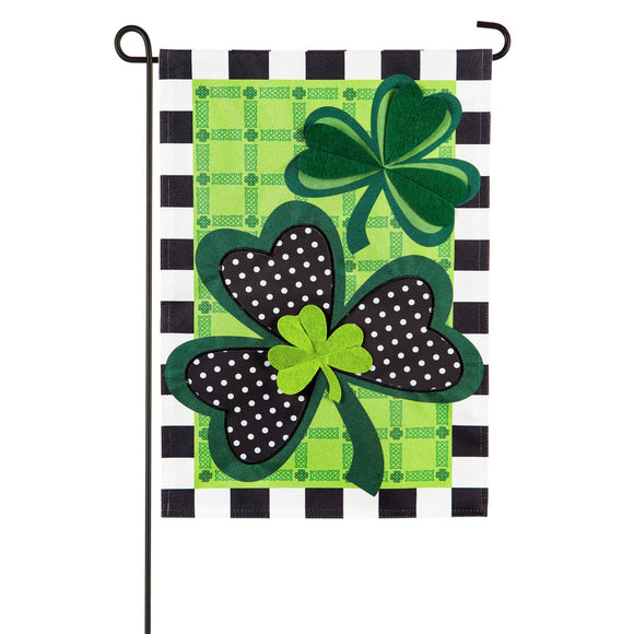 Garden Flag Mixed Print Shamrocks Linen