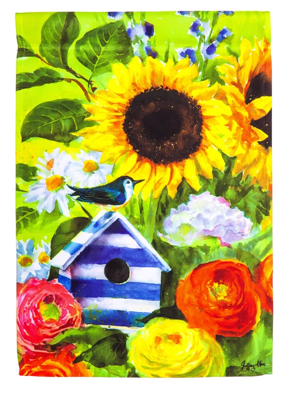Garden Flag Sunflower Birdhouse Suede