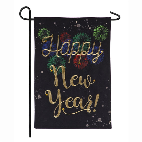 Garden Flag Happy New Year Burlap