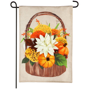 Garden Flag Fall Bouquet Basket Burlap