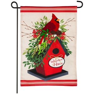 Garden Flag Holiday Birdhouse Burlap