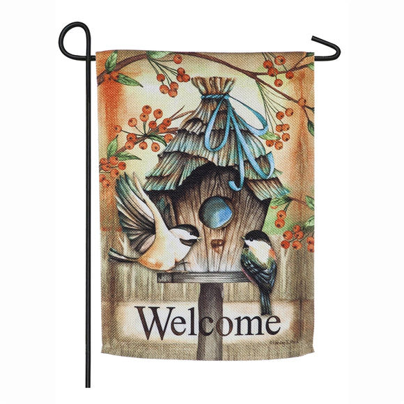 Garden Flag Fall Birdhouse Textured Suede