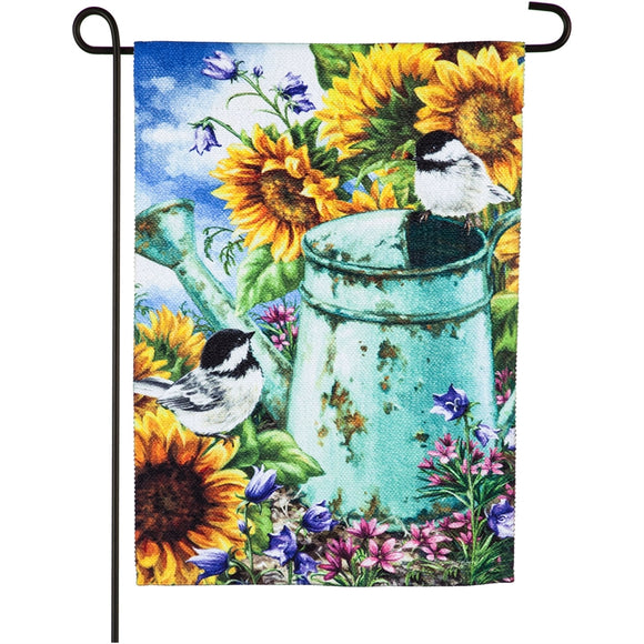 Garden Flag Sunflower Garden Textured Suede