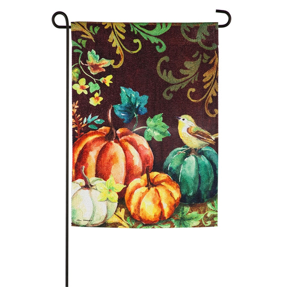 Garden Flag Fall Pumpkins and Bird Garden Textured Suede
