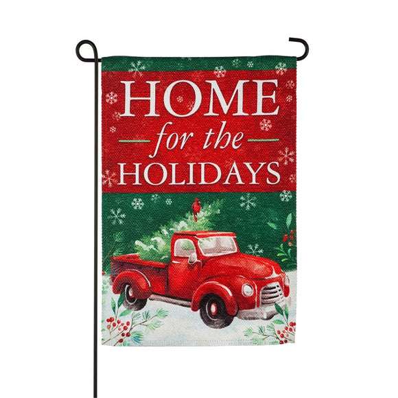 Garden Flag Christmas Heritage Red Truck Textured Suede
