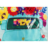 Garden Flag Mint Flower Truck Linen