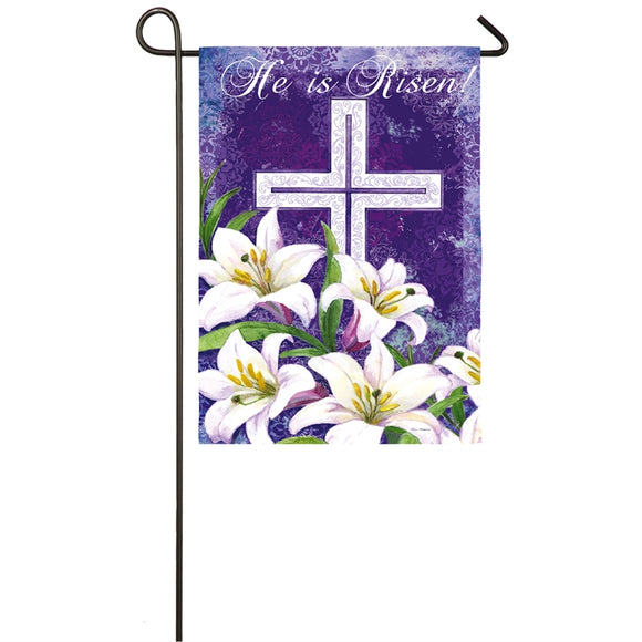 Garden Flag Cross and Lilies Suede