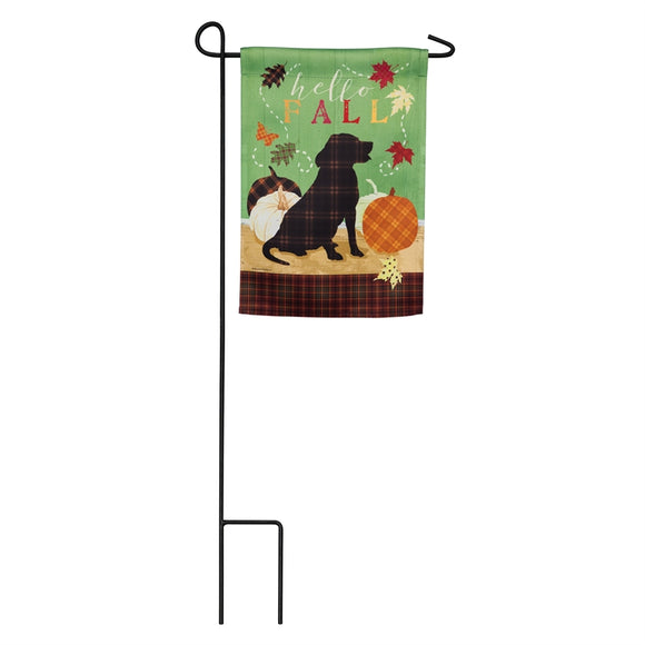 Garden Flag Fall Farmstead Happy Pup Suede