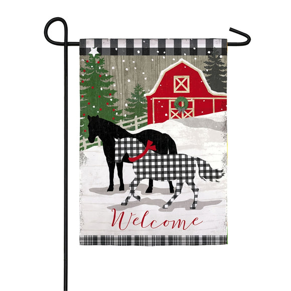 Garden Flag Farmstead Holiday Welcome Suede