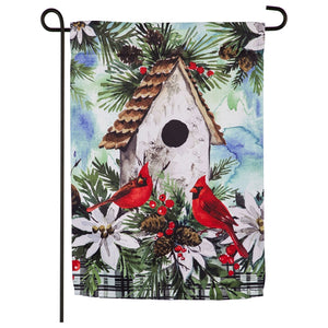 Garden Flag Winter Birdhouse Suede