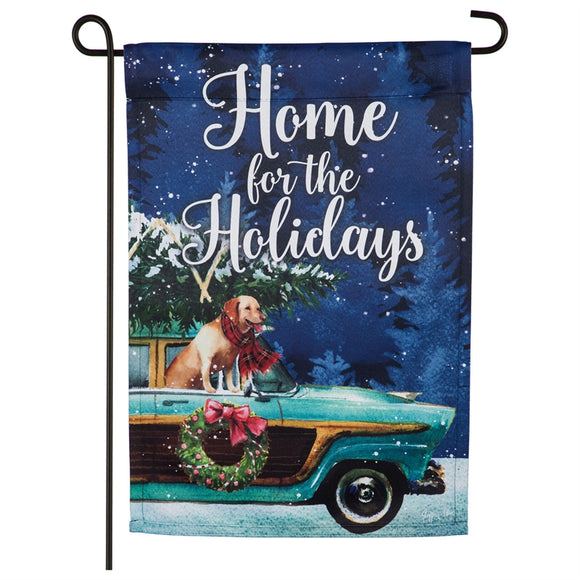 Garden Flag Home for the Holidays Wagon Suede