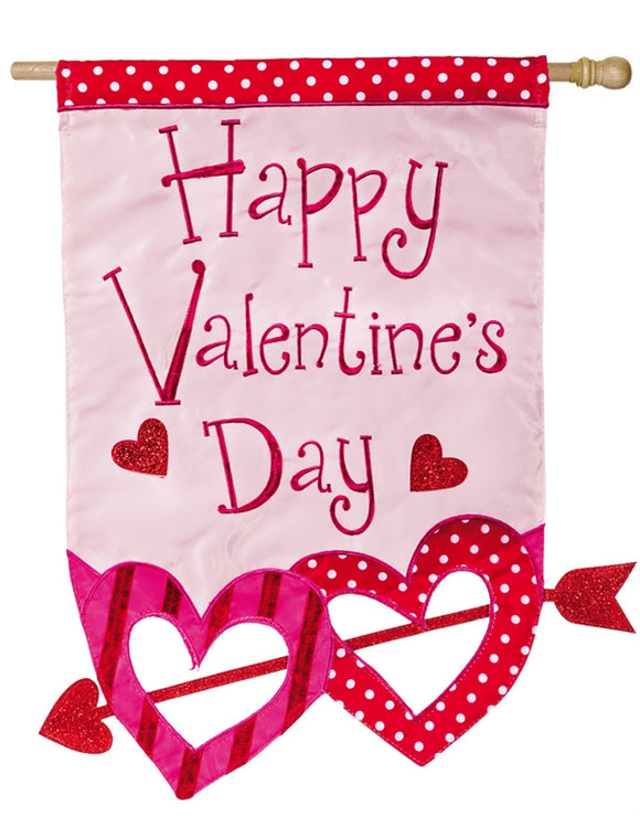 House Flag Valentine's Hearts with Arrow Applique