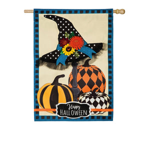 House Flag Witch Hat and Pumpkins Applique