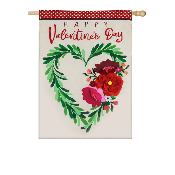 House Flag Valentine's Floral Heart Wreath Applique