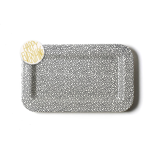 Black Small Dot Mini Rectangle Platter with Happy Everything Attachment