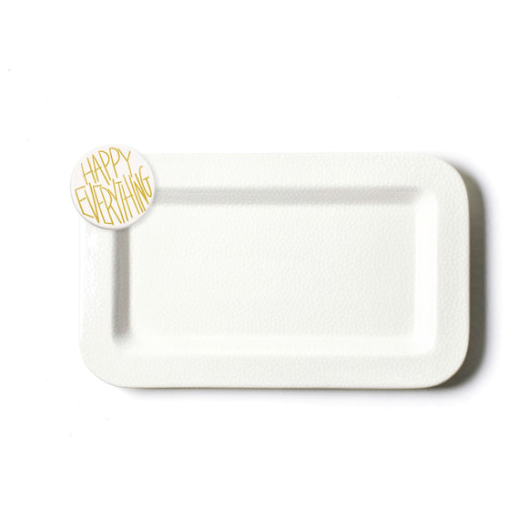 White Small Dot Mini Rectangle Platter with Happy Everything Attachment