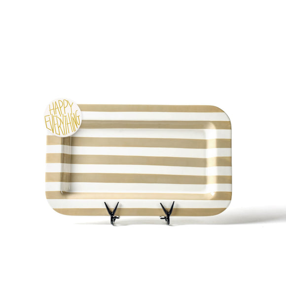 Neutral Stripe Mini Rectangle Platter with Happy Everything Attachment