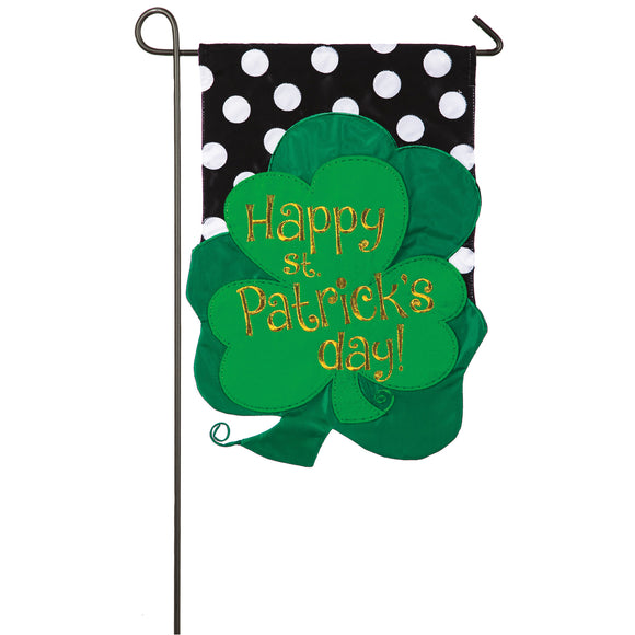 Garden Flag St. Patrick Clovers Applique