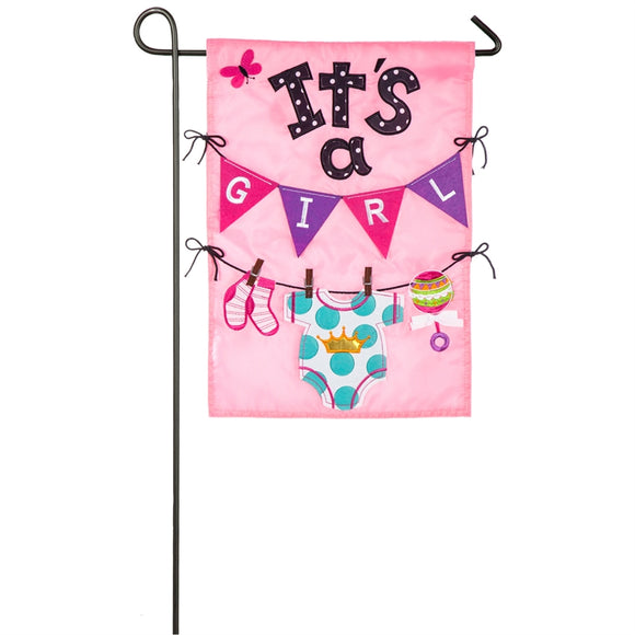 Garden Flag It's a Girl Applique