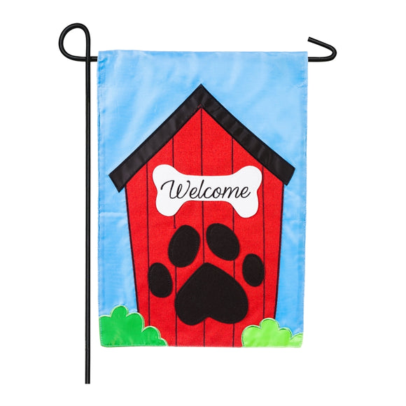 Garden Flag Welcome Dog House Applique