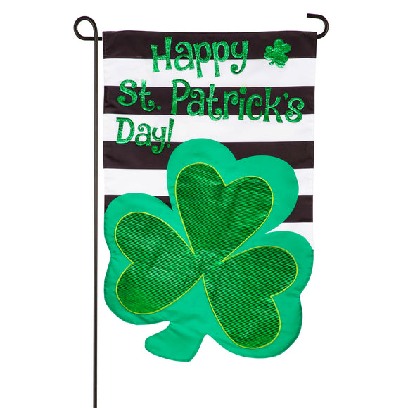 Garden Flag St. Patrick's Day Stripes Applique