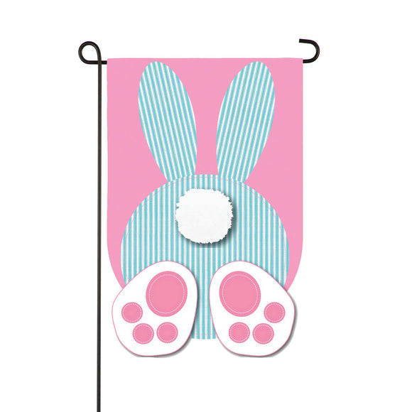 Garden Flag Seersucker Bunny Applique
