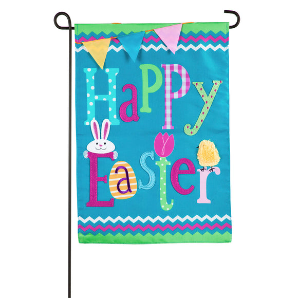 Garden Flag Happy Easter Applique