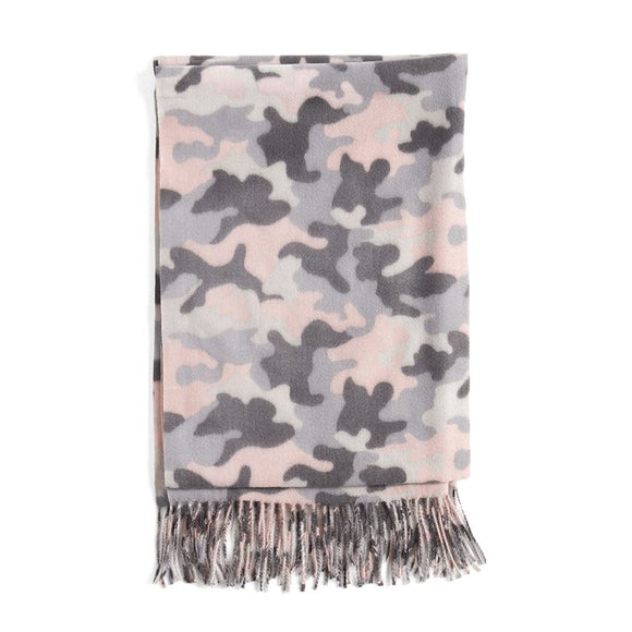 Supersoft Camo Oblong Scarf Pink