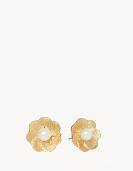 Verdier Pearl Flower Stud Earrings