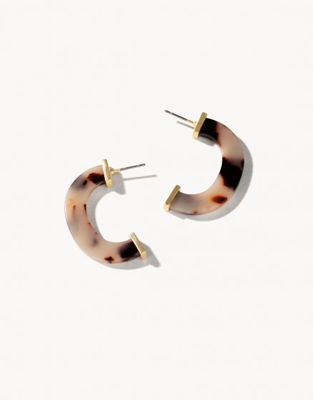 Cee Hoop Earrings White Tortoise