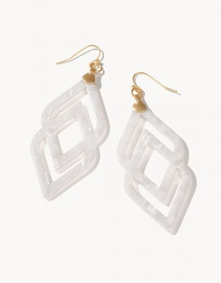 Deco Drama Earrings White Shimmer