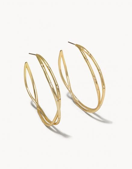 Sprinkles Hoop Earrings Crystal Gold