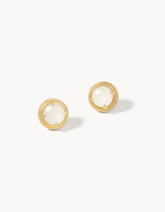 Crema Stud Earrings Frosted White