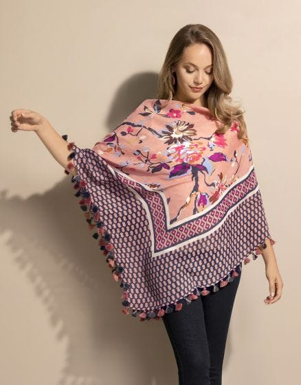 Scarf Poncho Painterly Floral