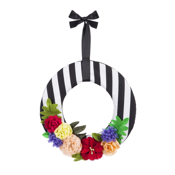 Door Decor Floral Stripe Wreath