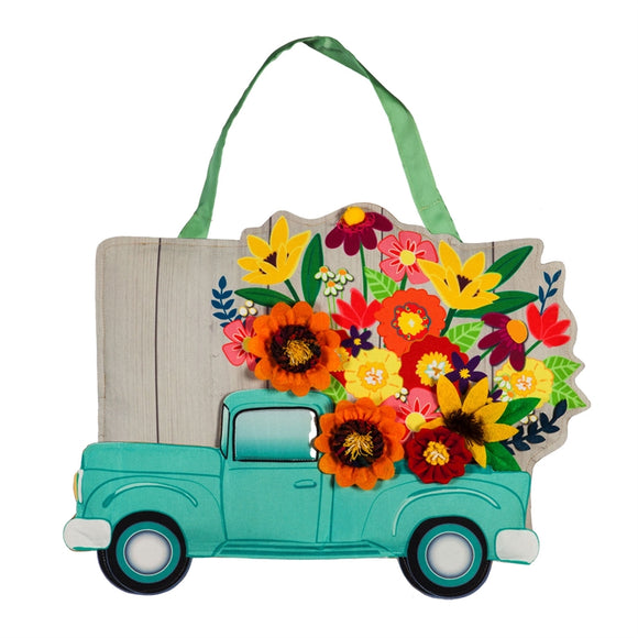 Door Decor Mint Flower Truck