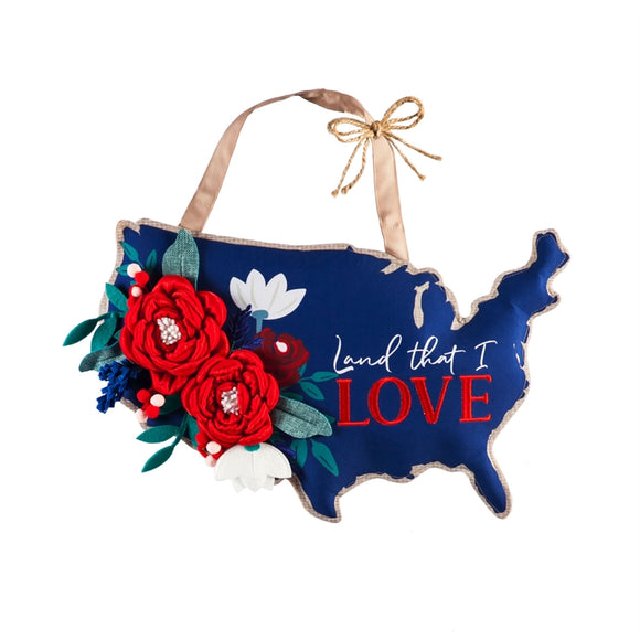 Door Decor Patriotic Floral Land That I Love