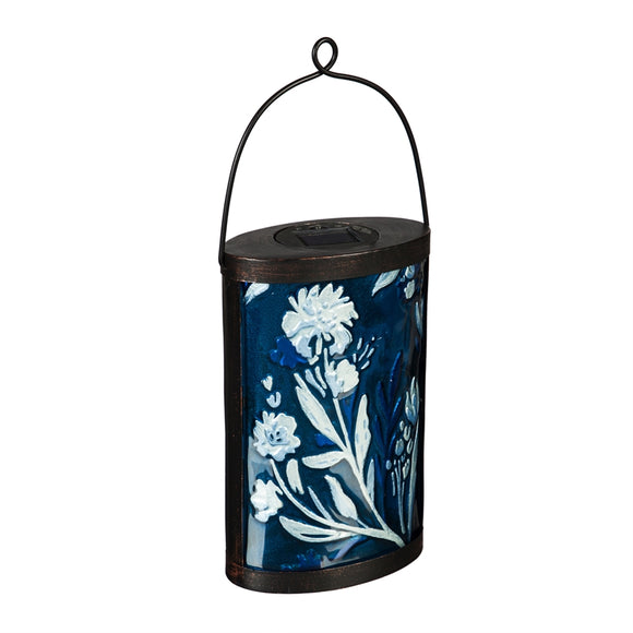 Solar Lantern Blue and White Floral