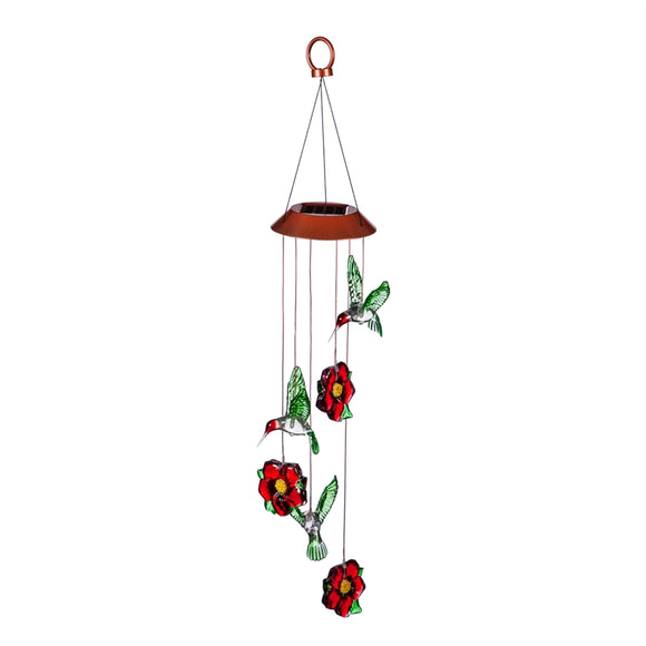 Solar Mobile Hummingbird and Red Flowers