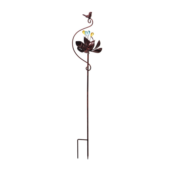 Wind Spinner Flower Bronze Garden Stake