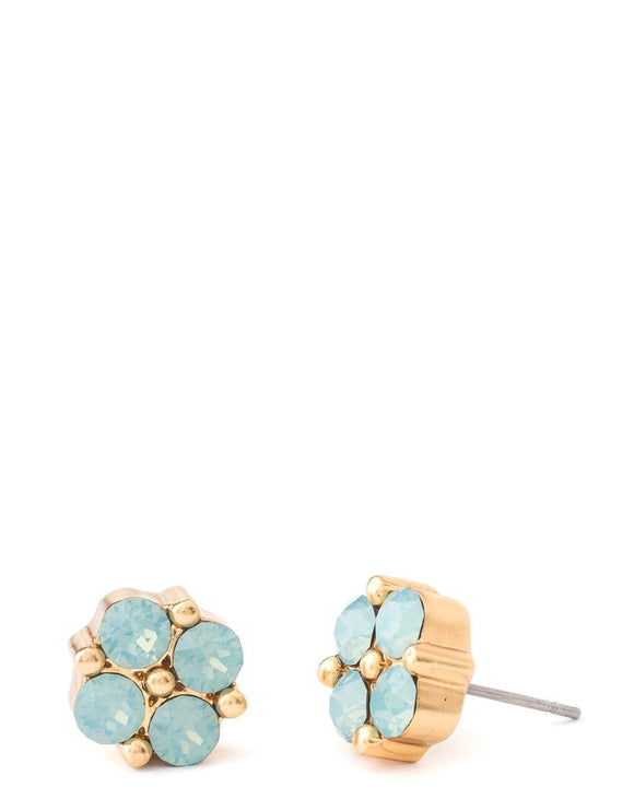 Clover Gem Stud Earrings Sea Foam